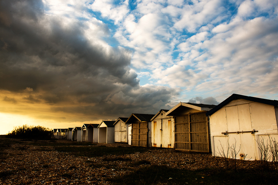 Beach huts on Shoreham Beach, Shoreham-by-Sea, West Sussex.  Photo by Jenny Rutterford Photography