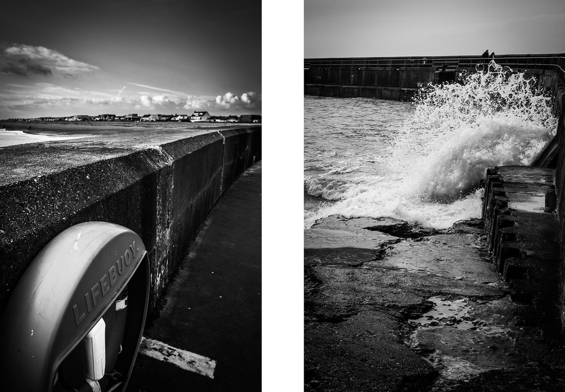 Two monochrome images of Shoreham fishing pier, Shoreham-by-Sea, West Sussex.  Photos by Jenny Rutterford Photography