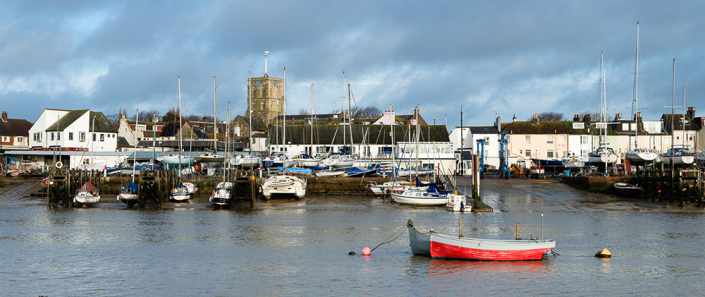 Panoramic view of Shoreham-by-Sea from the banks of the River Adur on Shoreham Beach.  Photo by Jenny Rutterford Photography