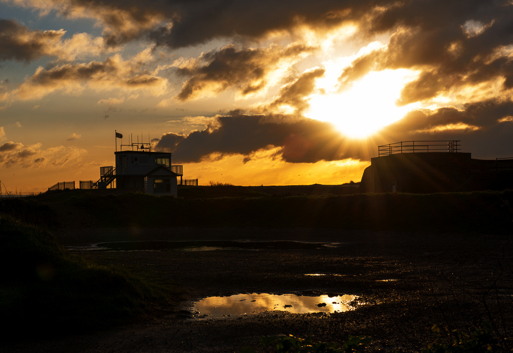 Shoreham Coastguard hut at sunrise, Shoreham Beach, Shoreham-by-Sea, West Sussex.  Landscape Photo by Jenny Rutterford Photography
