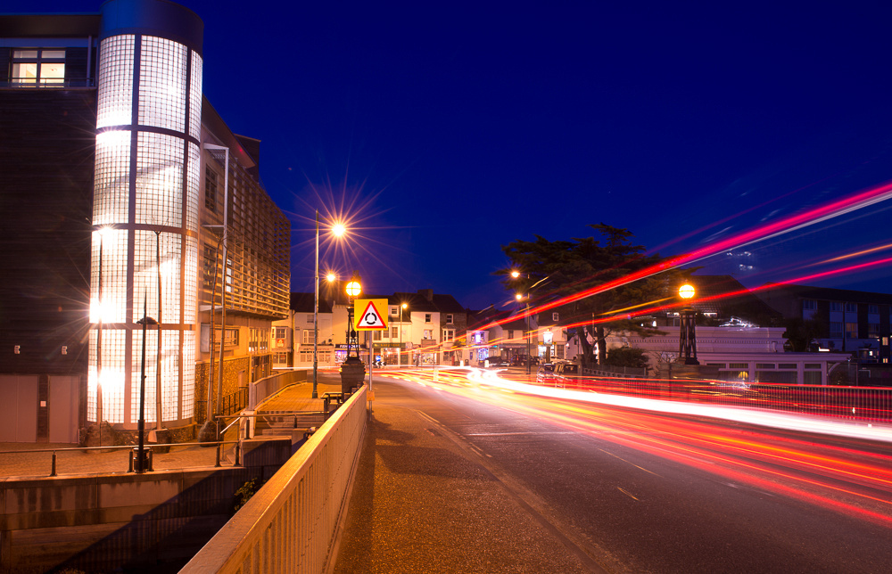 Stunning light trails from night time traffic crossing the Norfolk Bridge into Shoreham-by-Sea.  Ropetackle, Shoreham-by-Sea, West Sussex.  Photo by Jenny Rutterford Photography.