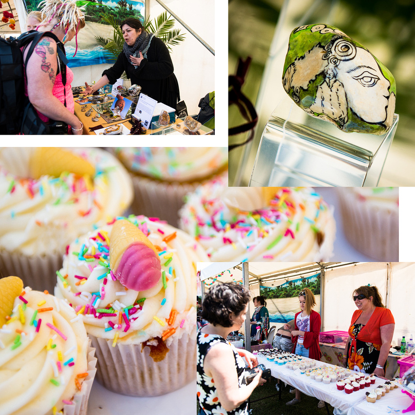 Seashell Bakery and Sanya Budna at Beach Dreams Festival, Shoreham-by-Sea.  Photos and collage by Jenny Rutterford Photography.