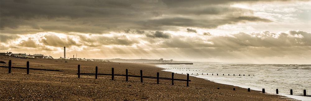 Panorama of Shoreham Beach at daybreak, Shoreham-by-Sea.  Image by Jenny Rutterford Photography.