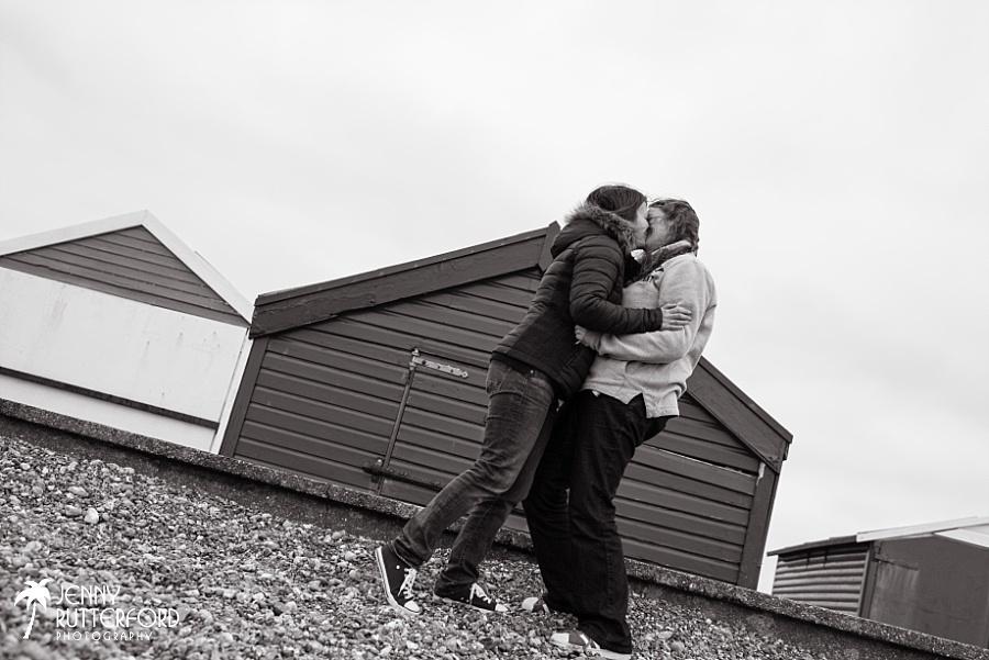 Lesbian beach engagement shoot