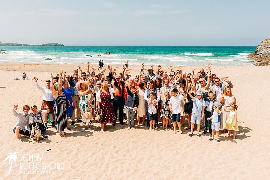 Group Photo at Lusty Glaze Beach Wedding