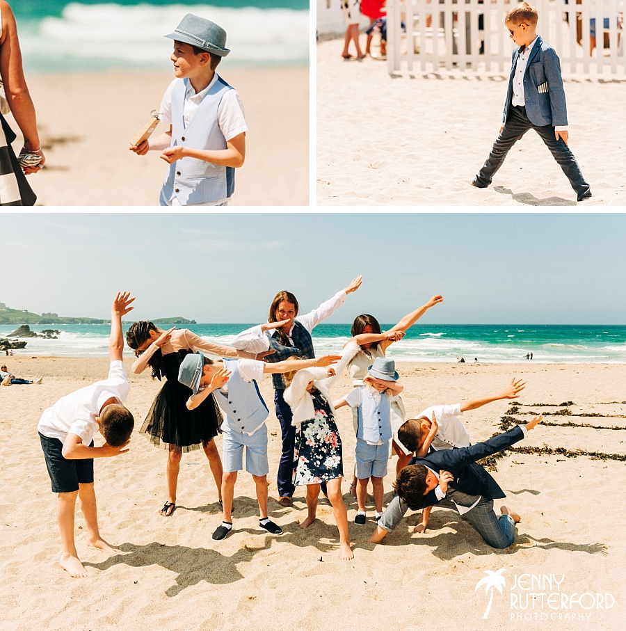 Young guests at Lusty Glaze Beach Wedding
