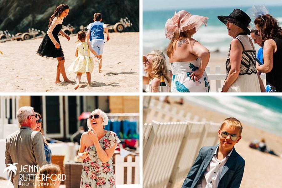 Guests having fun at Lusty Glaze Beach Wedding