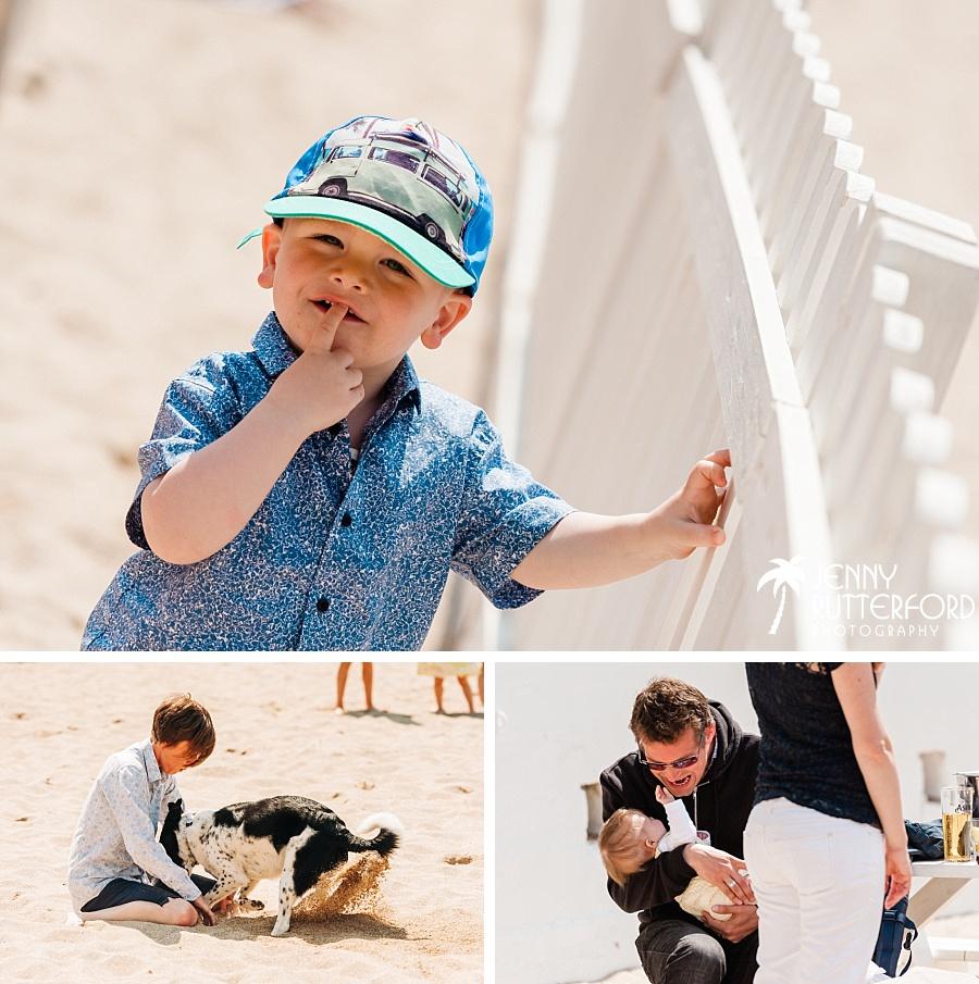 Cute kids and dog at Lusty Glaze Beach Wedding