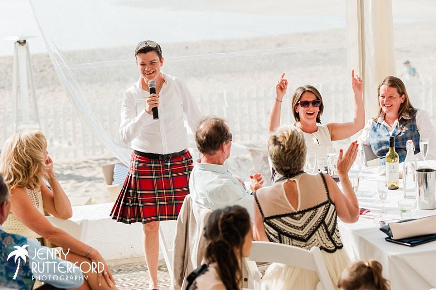 Speeches at Lusty Glaze Beach Wedding