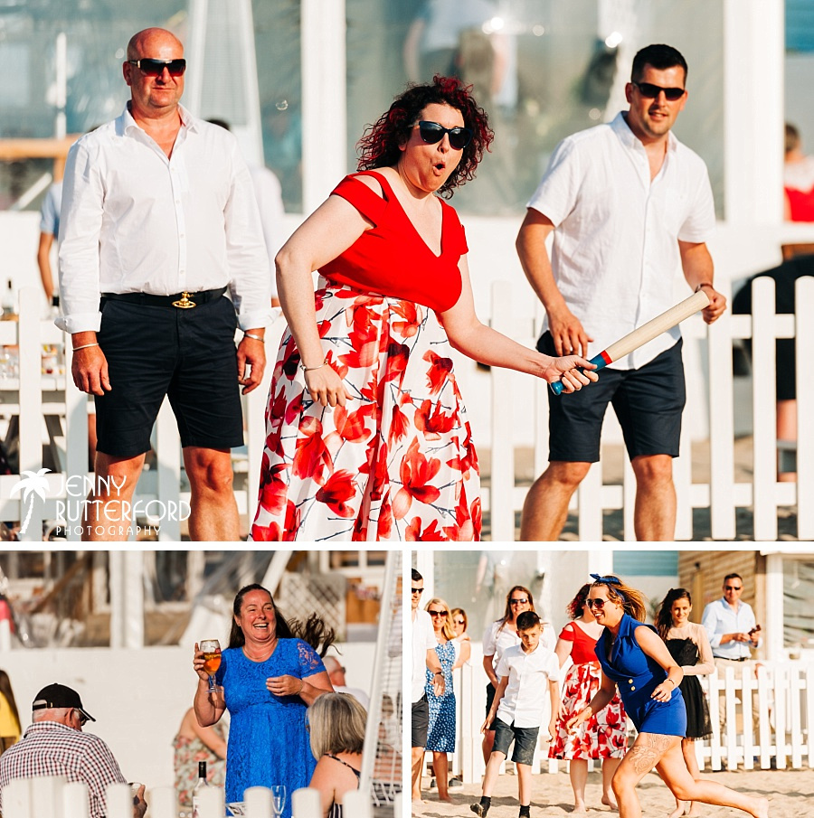 Playing rounders at Lusty Glaze Beach Wedding