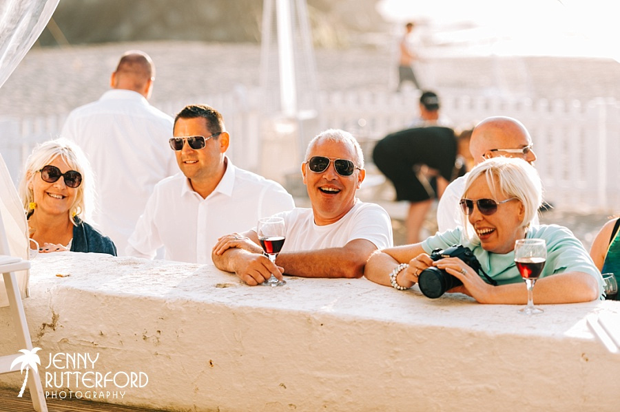 Guests relaxing at Lusty Glaze Beach Wedding