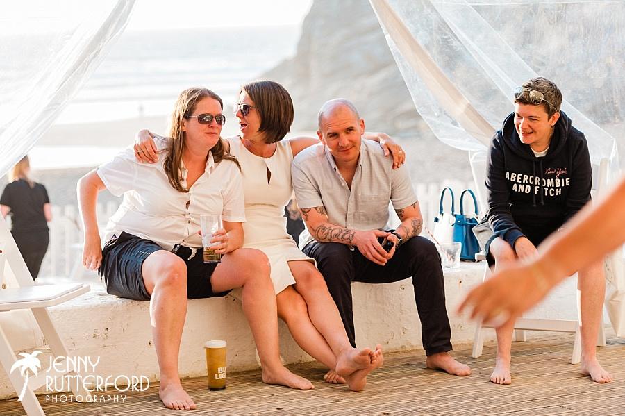 Candid moments at Lusty Glaze Beach Wedding