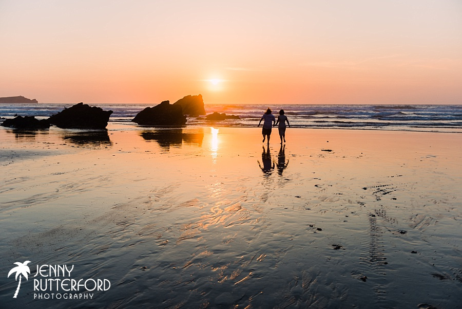 Sunset at Lusty Glaze Beach Wedding