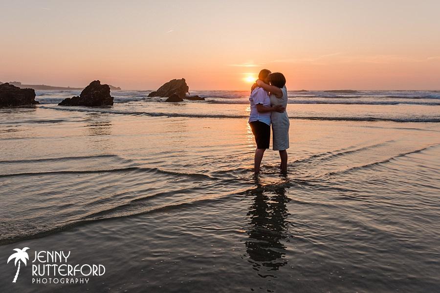 Romantic sunset photo at Lusty Glaze Beach Wedding