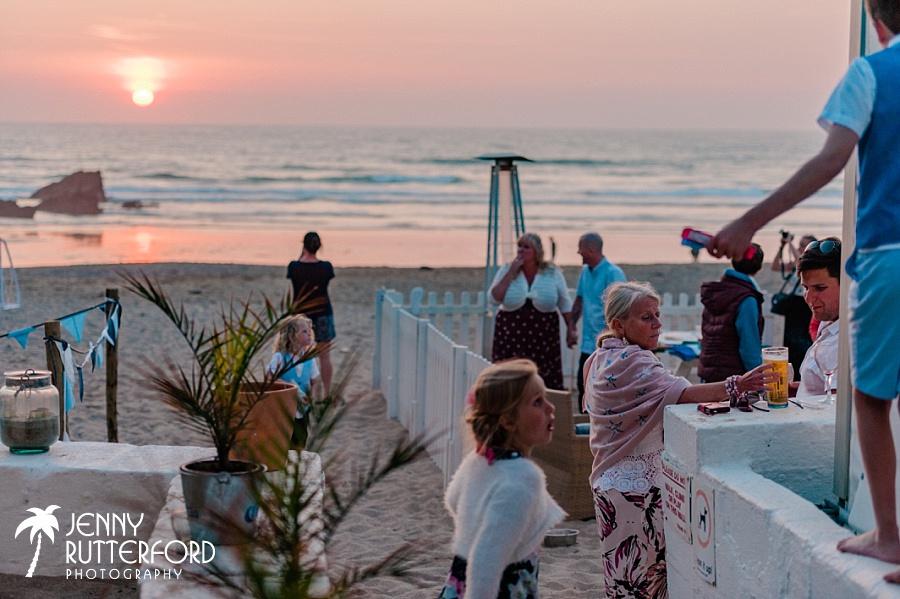 Gorgeous sunset over Lusty Glaze Beach Wedding
