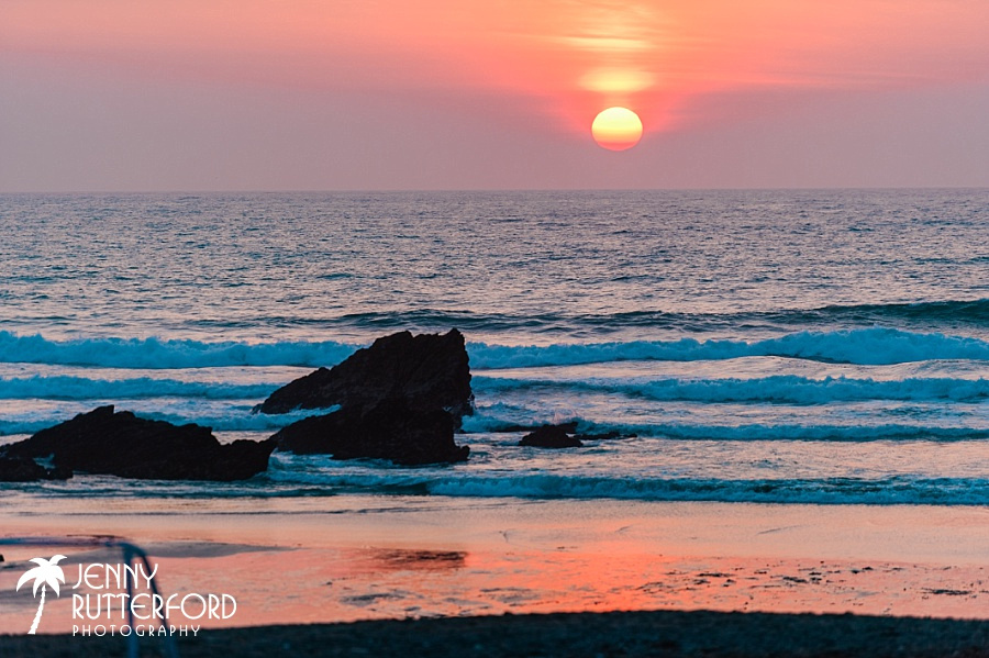 Striking sunset at Lusty Glaze Beach Wedding