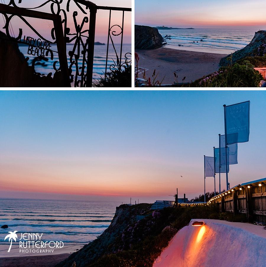 Lusty Glaze Beach Wedding in Cornwall at dusk