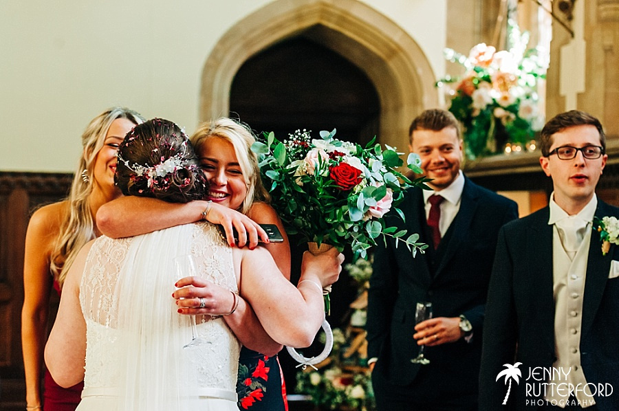 Hugs at St Audries Park wedding