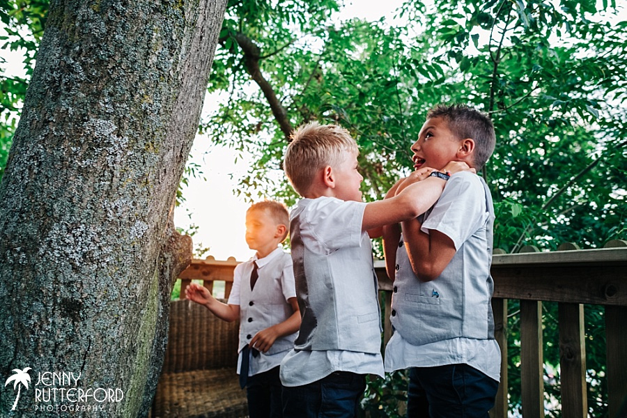 Kids playing in treehouse at Rye Island West Sussex wedding