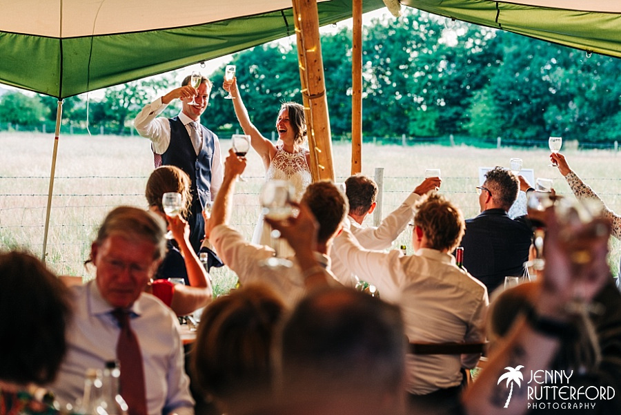 Toasts in marquee at Rye Island wedding, Henfield, West Sussex