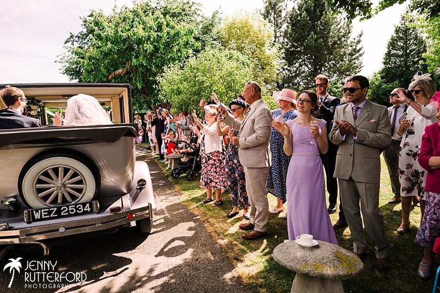 Bride's arrival at Selden Barn wedding