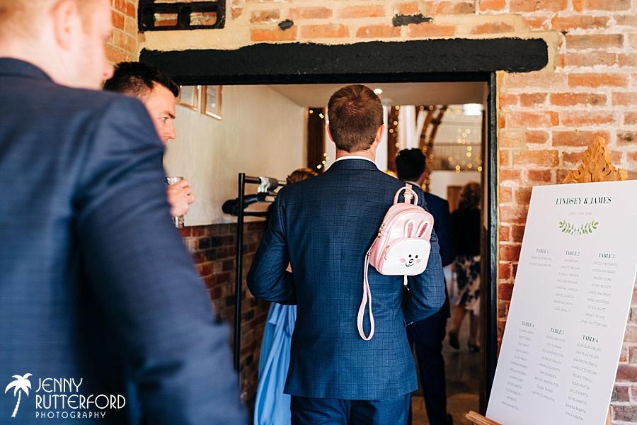 Bunny backpack, Long Furlong Barn wedding