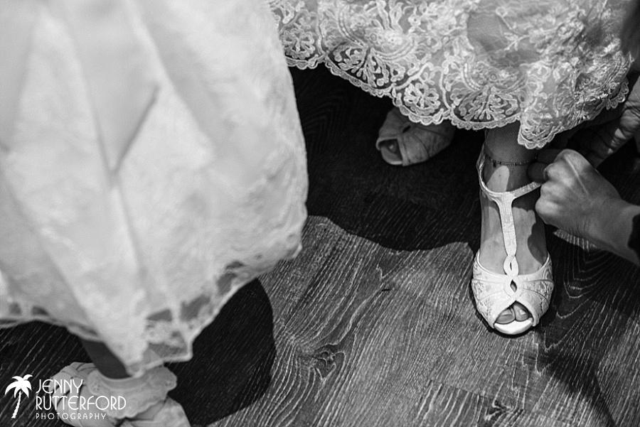 Shoes, bridal prep at Long Furlong Barn