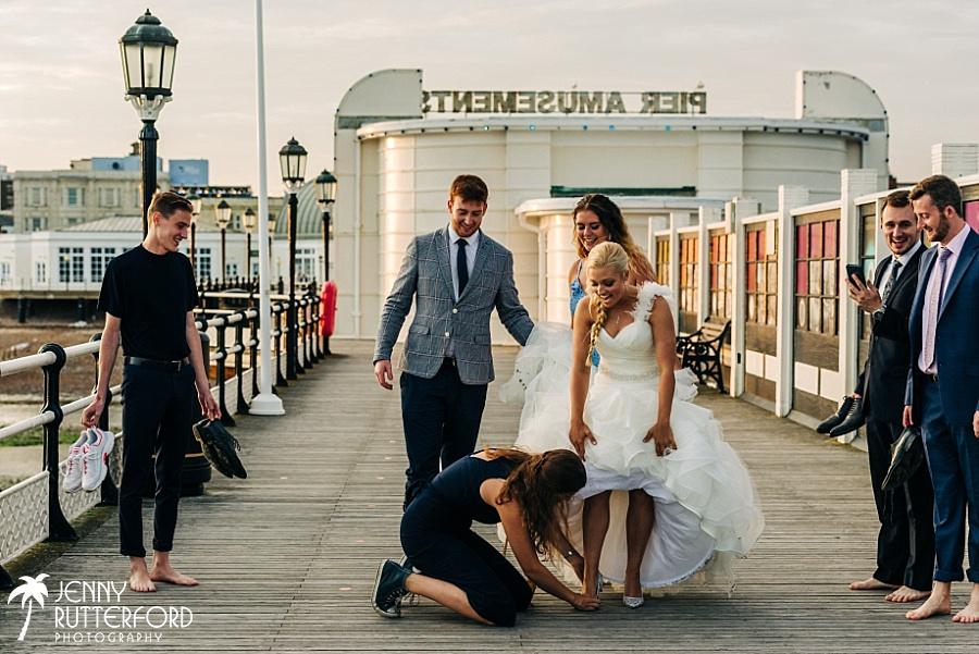 Bride's shoe stuck in boardwalk on Worthing Pier!