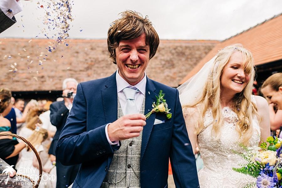 Happy groom at Long Furlong Barn wedding