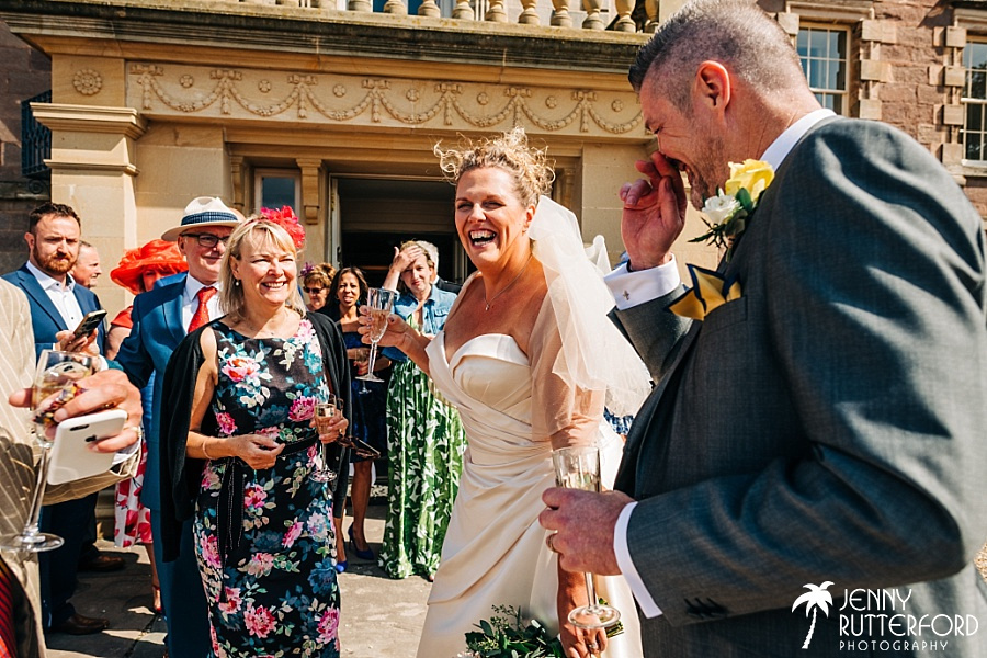 Bride and groom after ceremony at Archerfield House wedding