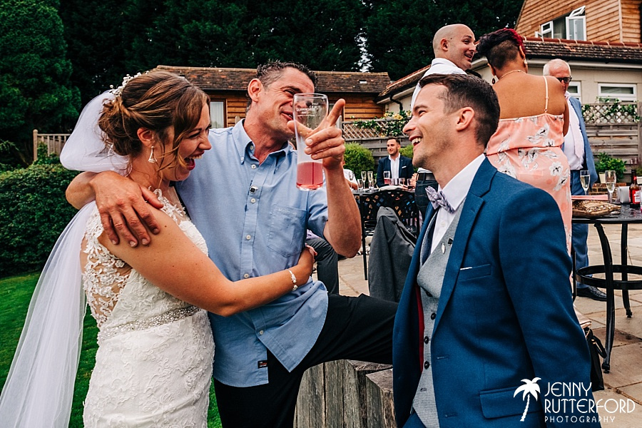 Bride and groom with guests at Brookfield Barn wedding