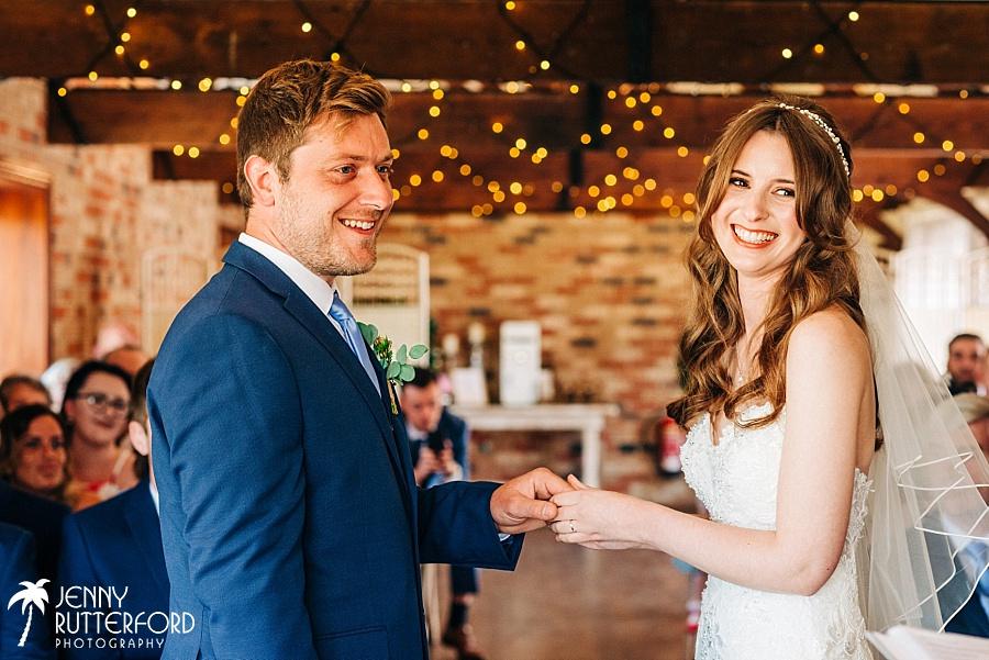 Just married at Long Furlong Barn wedding