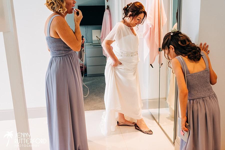 Lusty Glaze Beach Wedding Bridal prep