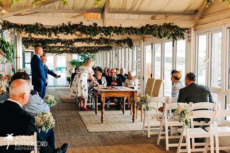 Lusty Glaze Beach Wedding Ceremony room