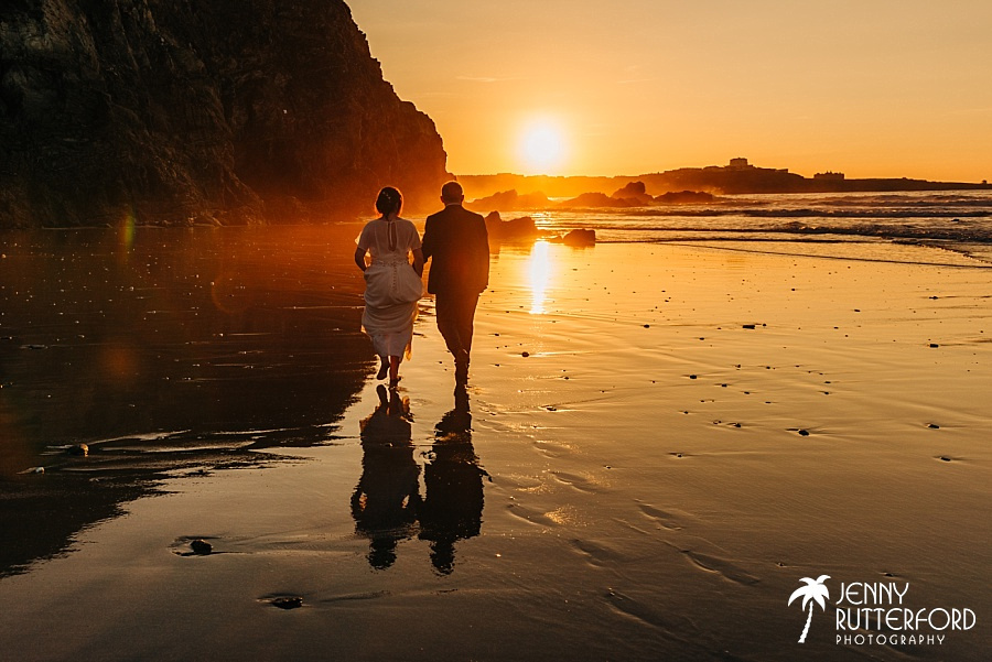 Natural wedding photographer Lusty Glaze Beach in Cornwall