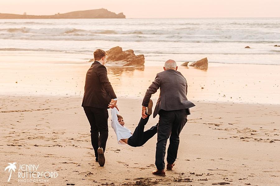 Lusty Glaze Beach Wedding fun, candid photography