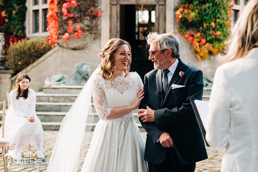 Bride and Dad at Walton Castle, small wedding Somerset