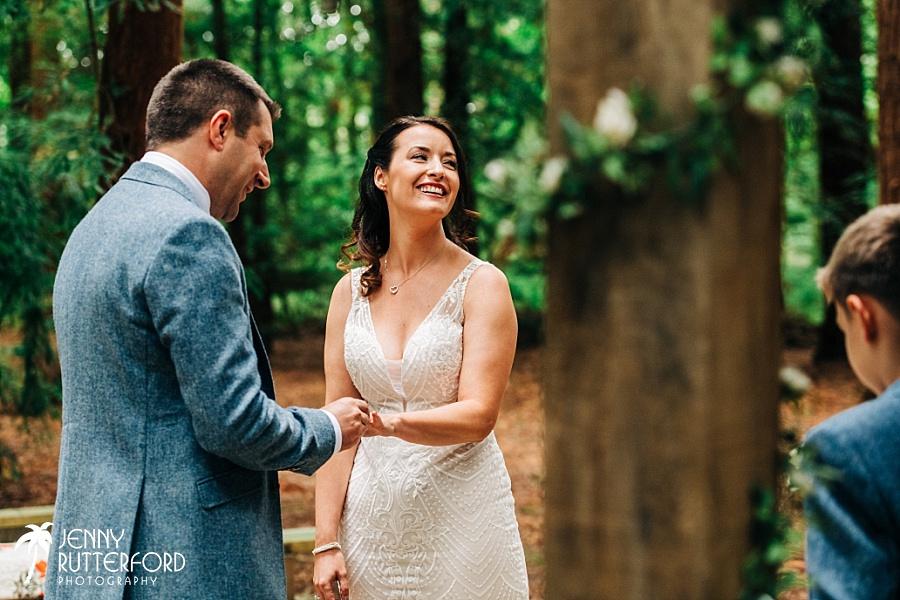 Exchanging rings at Two Woods Estate wedding