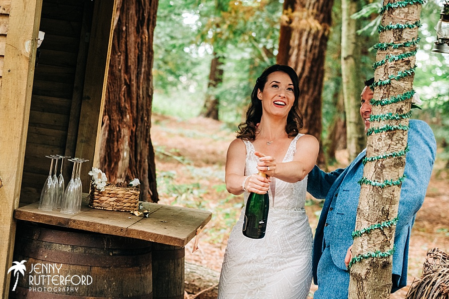 Wedding at Two Woods Estate, West Sussex in redwood forest