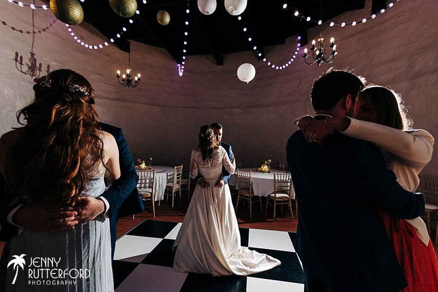 Bride and Groom's First Dance at Walton Castle small wedding