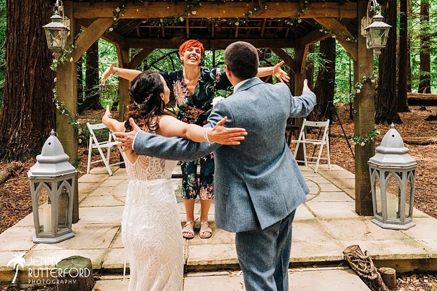 Virtual hug at Two Woods Estate wedding