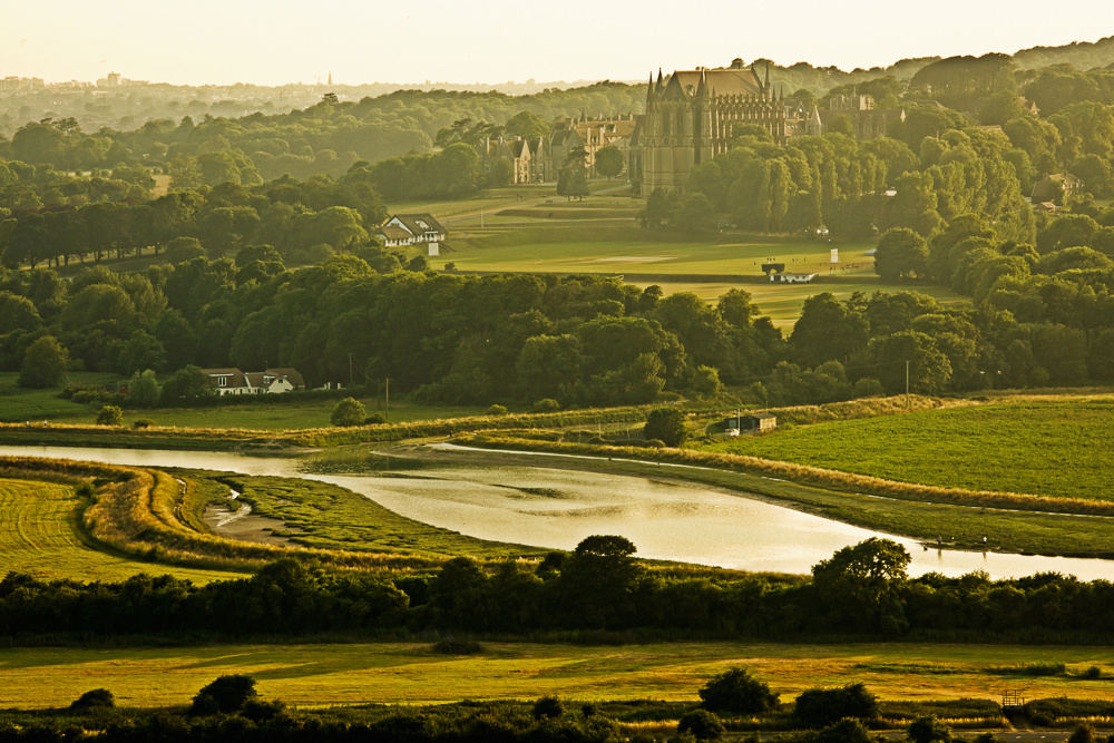 Lancing College and the River Adur from Mill Hill, Shoreham-by-Sea.  Image by Jenny Rutterford Photography