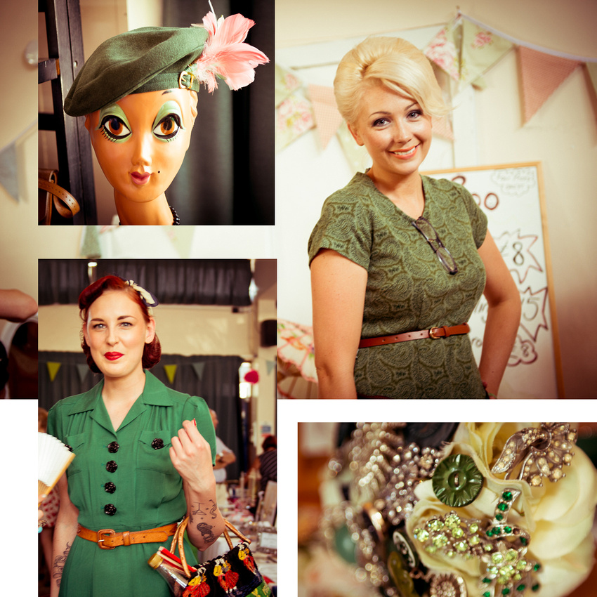 Vintage style and glamour in green at Johnny Loves June Vintage Fair, Shoreham-by-Sea.  Images by Sussex Wedding Photographer Jenny Rutterford Photography