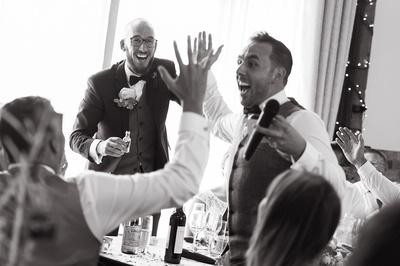 High Fives at Long Furlong Barn wedding